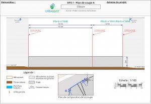 DP3.1, plan de coupe A - déclaration d'une clôture