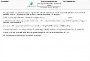 Notice complémentaire - déclaration préalable
