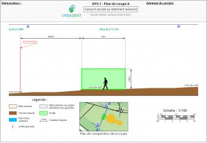 DP3.1, Plan de coupe - déclaration d'un carport